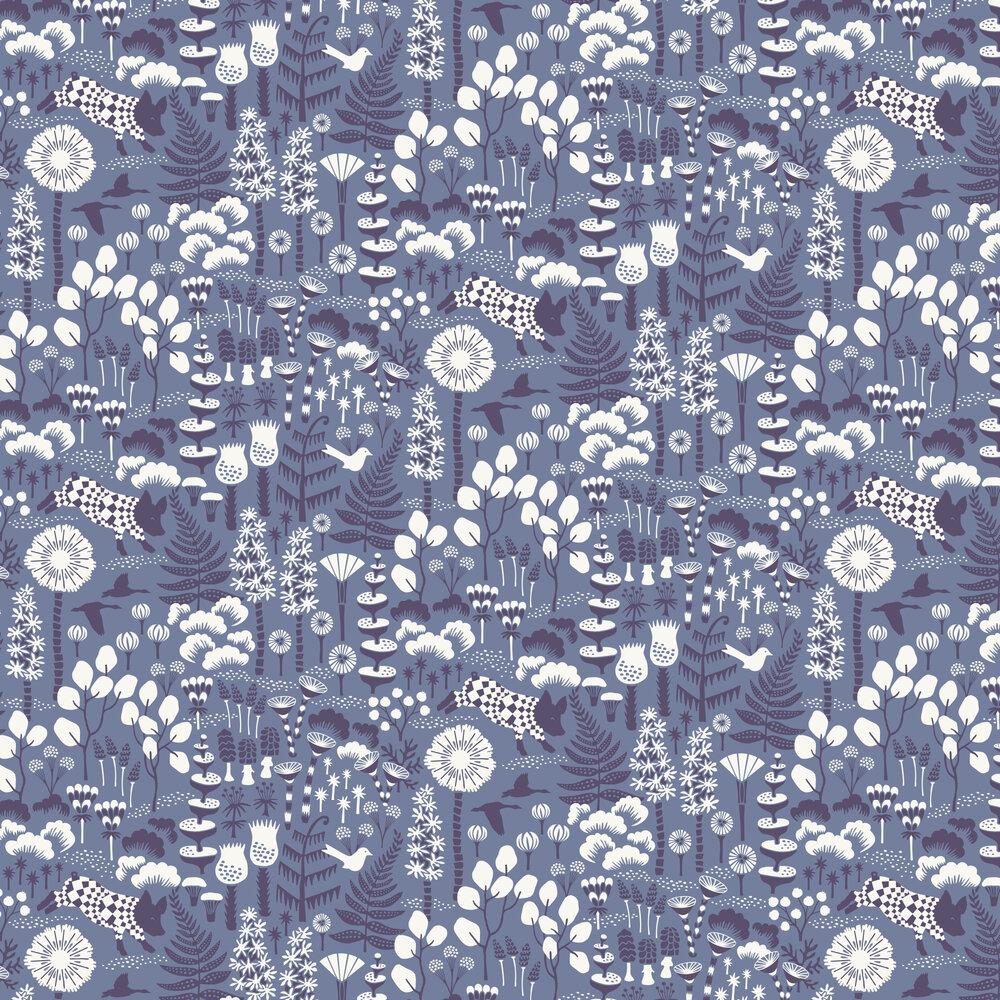 Hoppmosse Wallpaper - Blue - by Boråstapeter