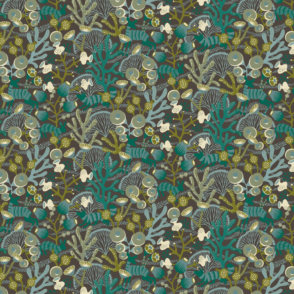 Boråstapeter Korallang Black / Green Wallpaper - Product code: 1460