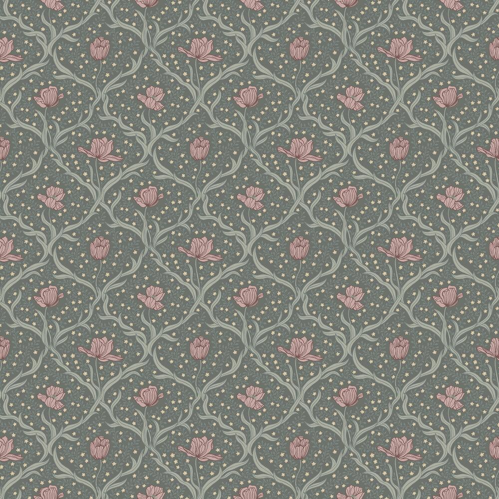 Boråstapeter Tulippa Dark Green and Pink  Wallpaper - Product code: 4033