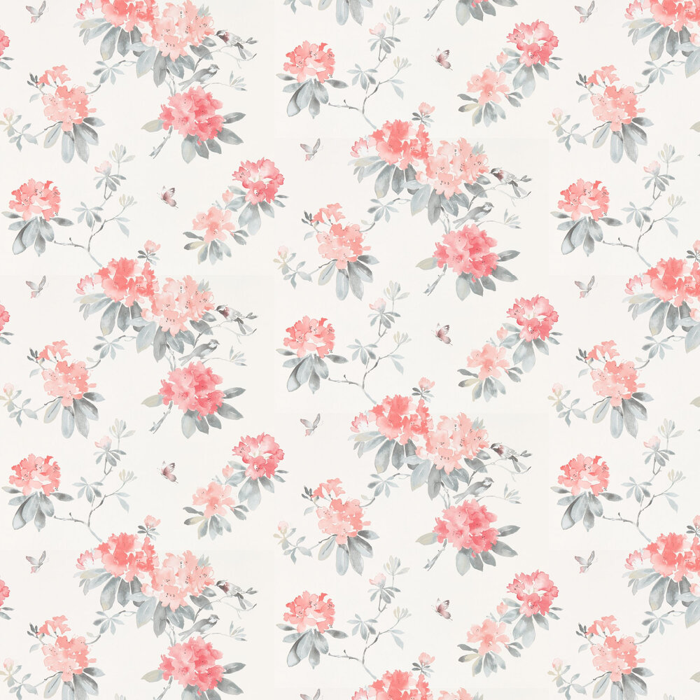 Rhodera Wallpaper - Coral and Grey - by Sanderson