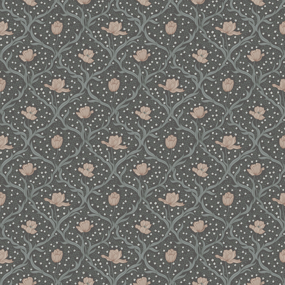 Boråstapeter Tulippa Blue and Pink  Wallpaper - Product code: 4034