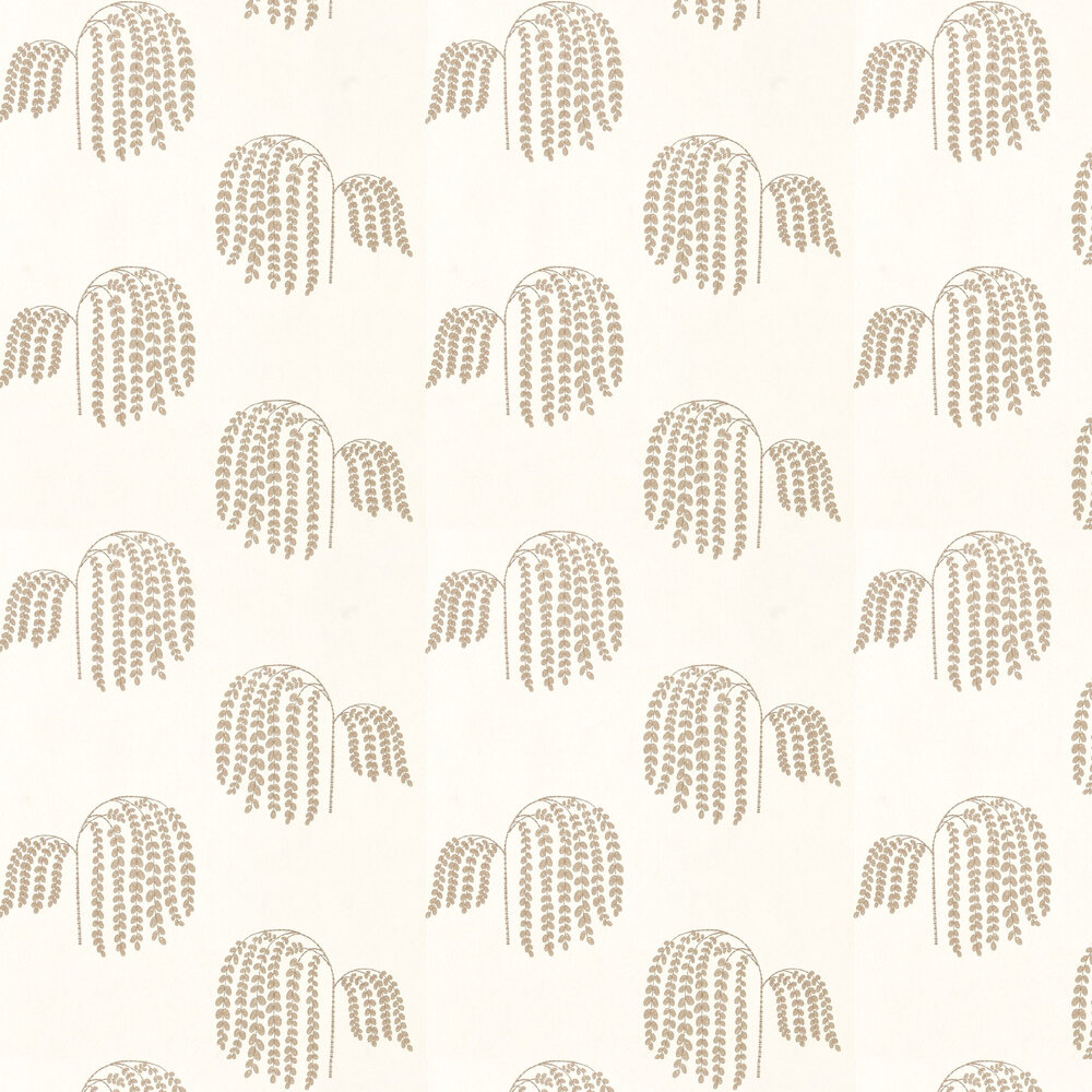 Bay Willow Wallpaper - Ivory and Gold - by Sanderson