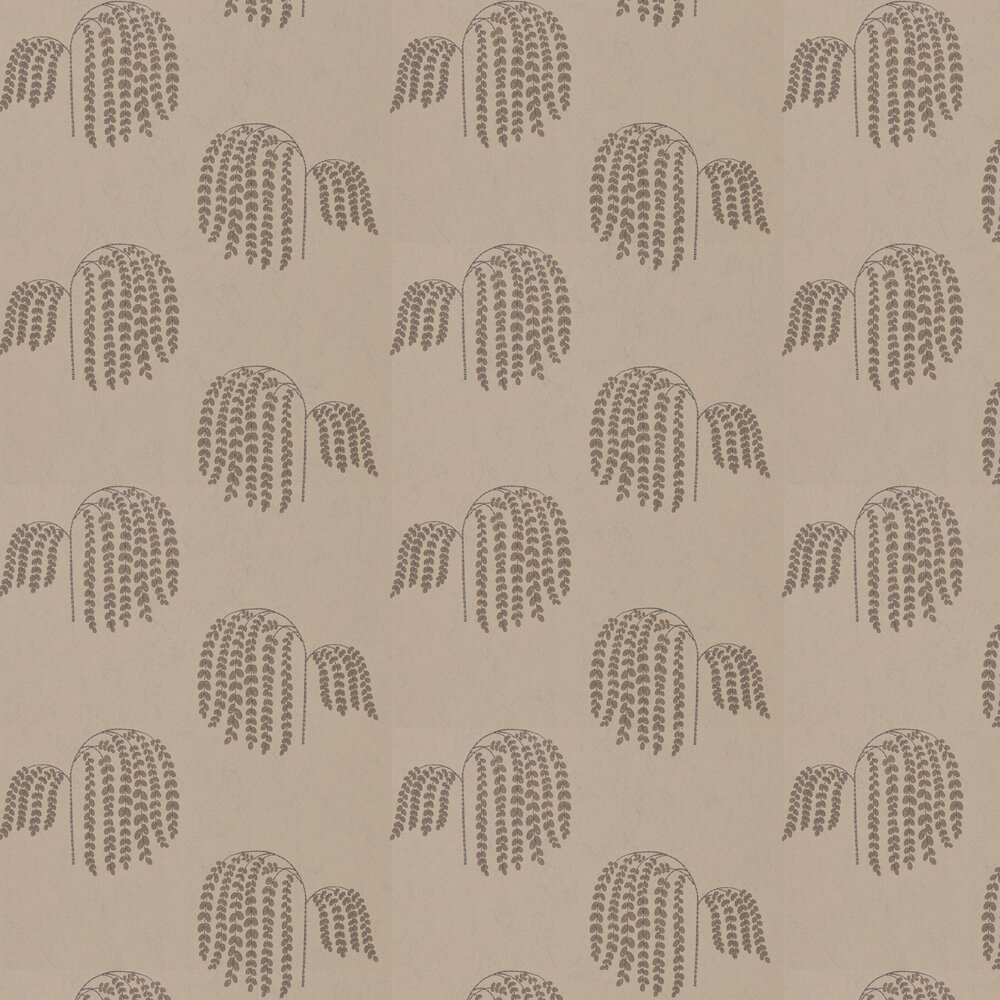 Bay Willow Wallpaper - Gold and Charcoal - by Sanderson