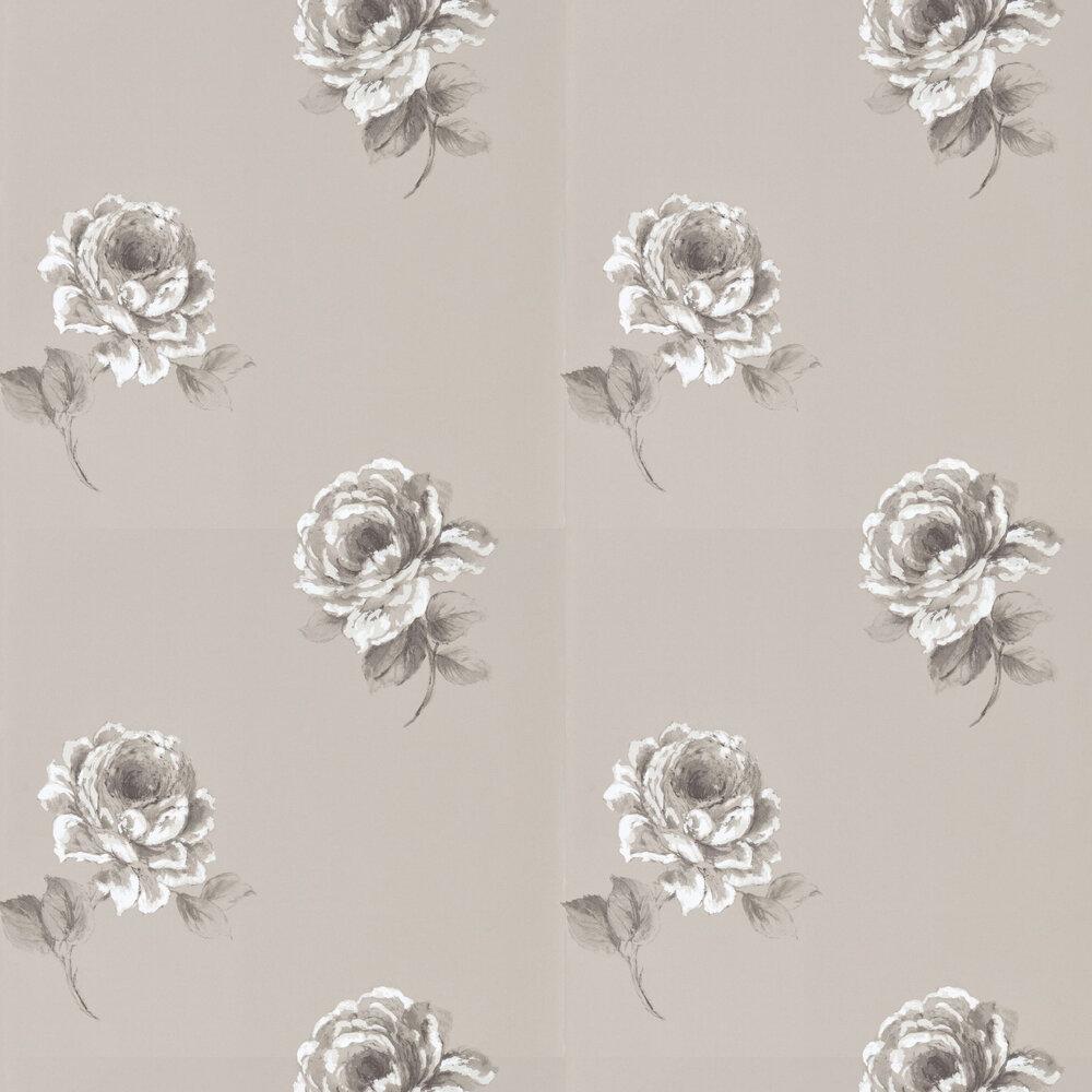 Rosa Wallpaper - Silver - by Sanderson