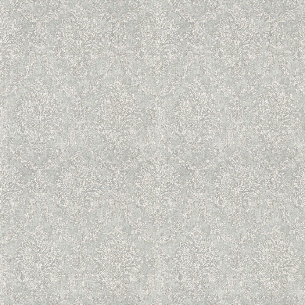 Riverside Damask Wallpaper - Dove and Silver - by Sanderson