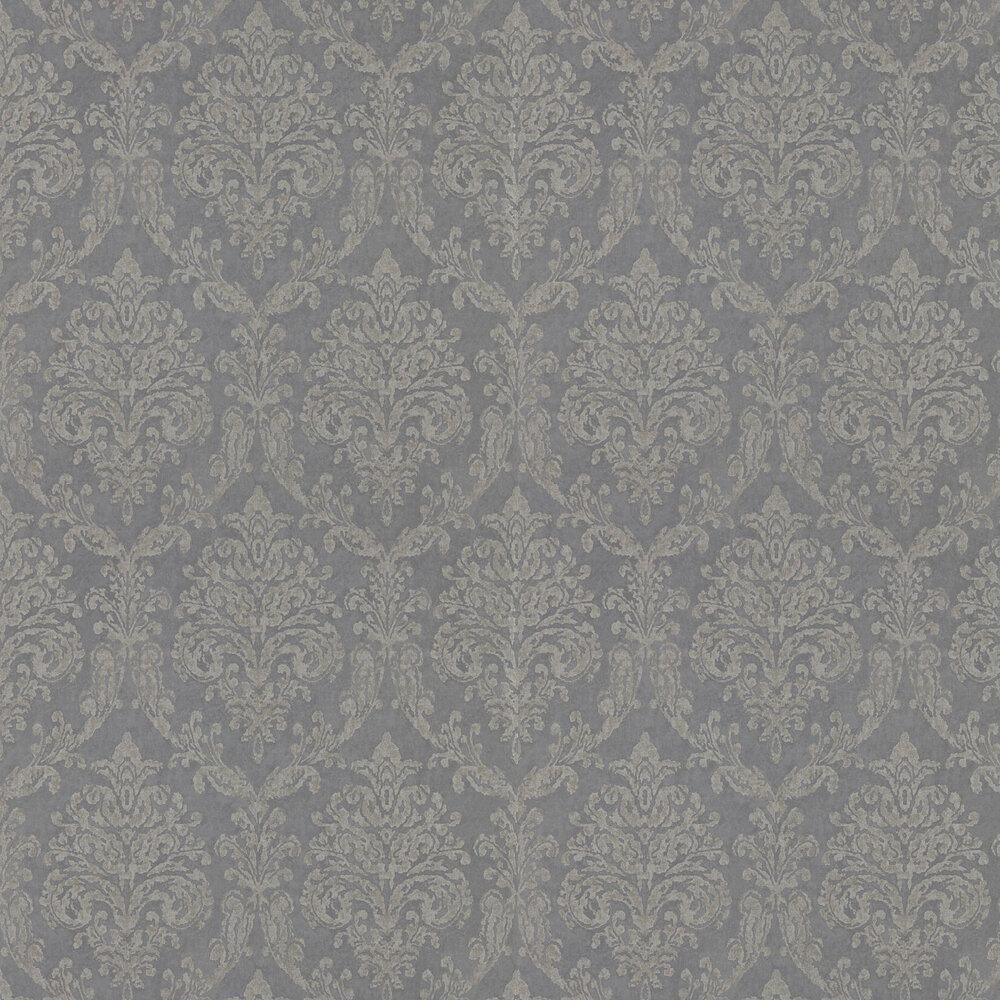 Riverside Damask Wallpaper - Steel and Silver - by Sanderson