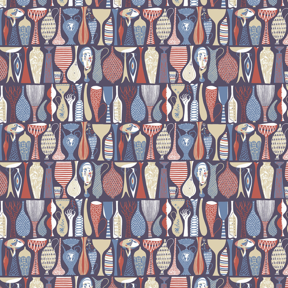 Pottery Wallpaper - Red and Blue - by Boråstapeter