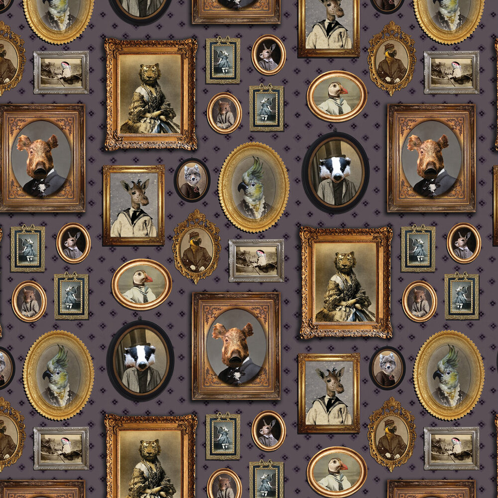 Portrait Gallery Wallpaper - Mauve - by Graduate Collection
