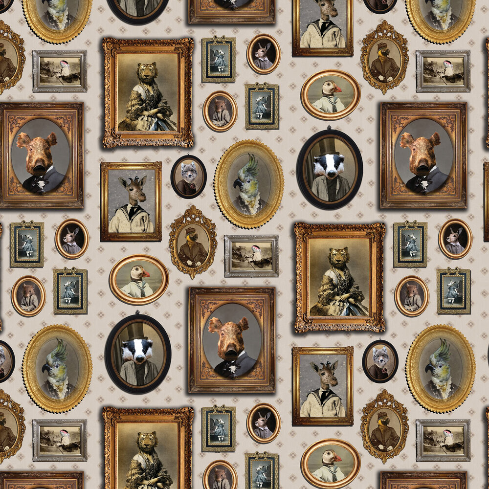 Portrait Gallery Wallpaper - Taupe - by Graduate Collection