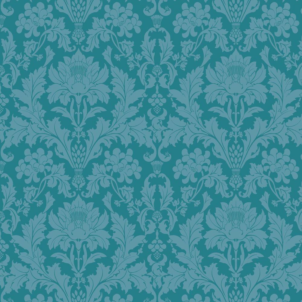 Fonteyn Wallpaper - Teal - by Cole & Son