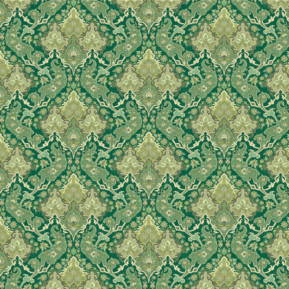 Pushkin Wallpaper - Forest Green - by Cole & Son