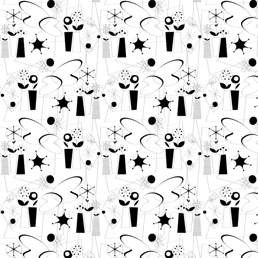 Dupenny Atomic Black / White Wallpaper - Product code: ATOMIC 10M BW