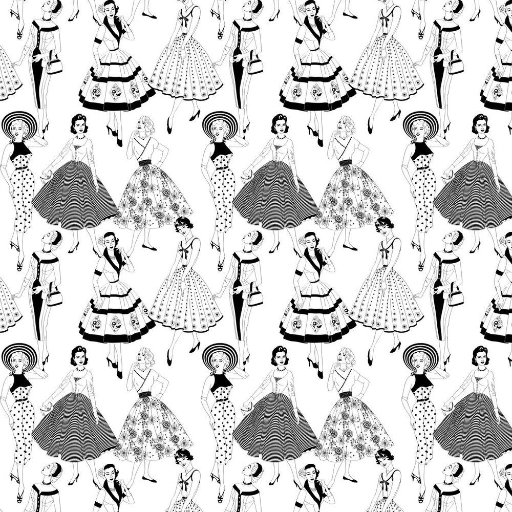 Dupenny Vintage Dress Black / White Wallpaper - Product code: VINTAGEDRESS 10M BW