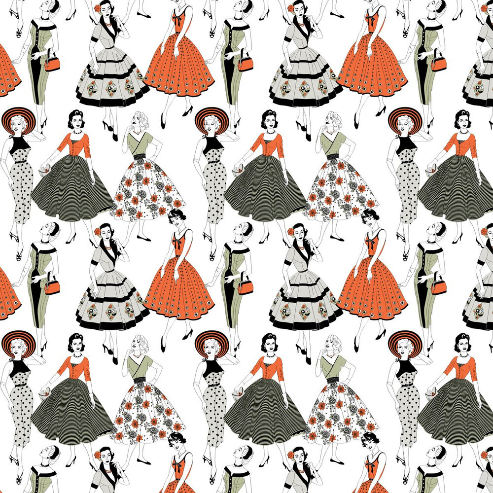 Vintage Dress Wallpaper - Multi-coloured - by Dupenny
