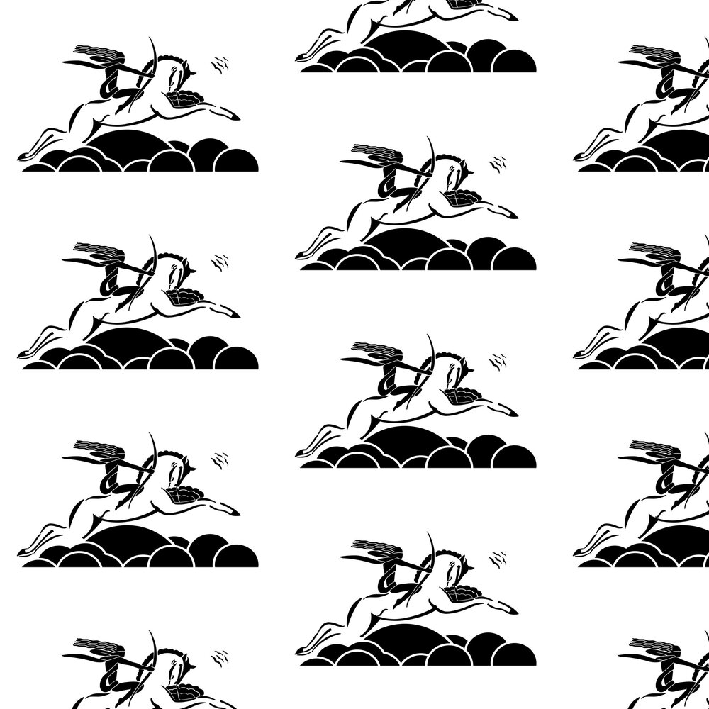 Diane on Horseback Wallpaper - Black / White - by Art Decor Designs