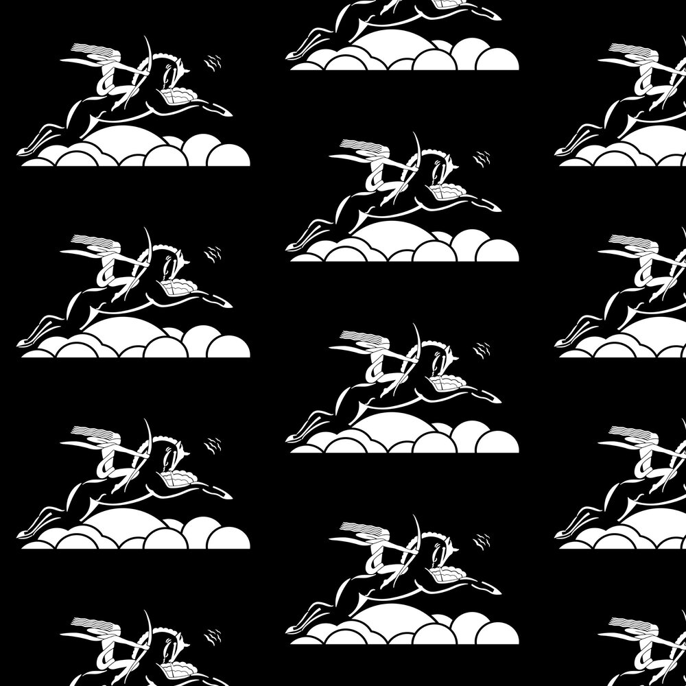 Art Decor Designs Diane on Horseback White / Black Wallpaper - Product code: DOH 02 W-B
