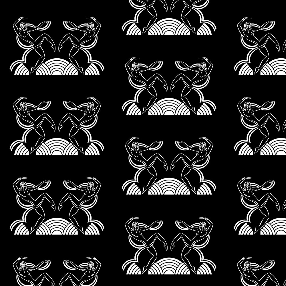 Dancing Girls Wallpaper - White / Black - by Art Decor Designs