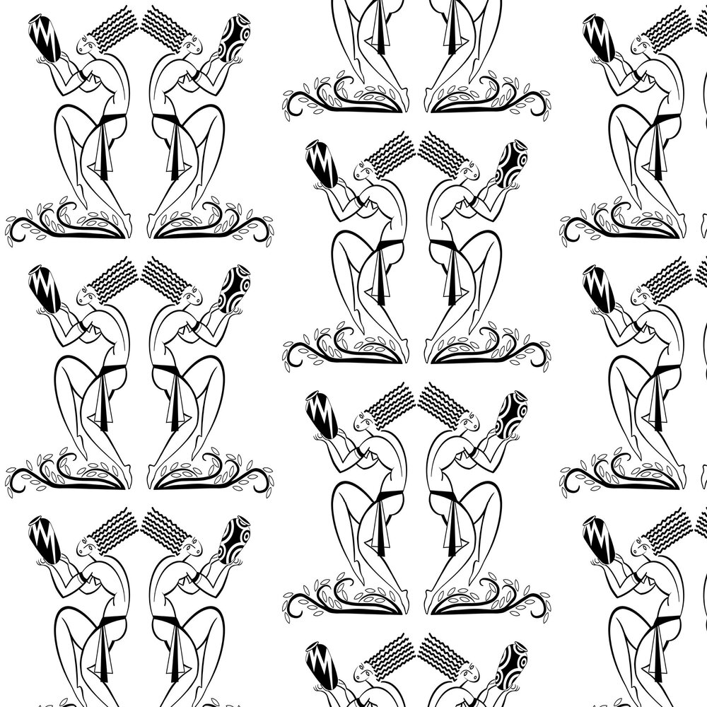 Les Danseurs Wallpaper - Black / White - by Art Decor Designs