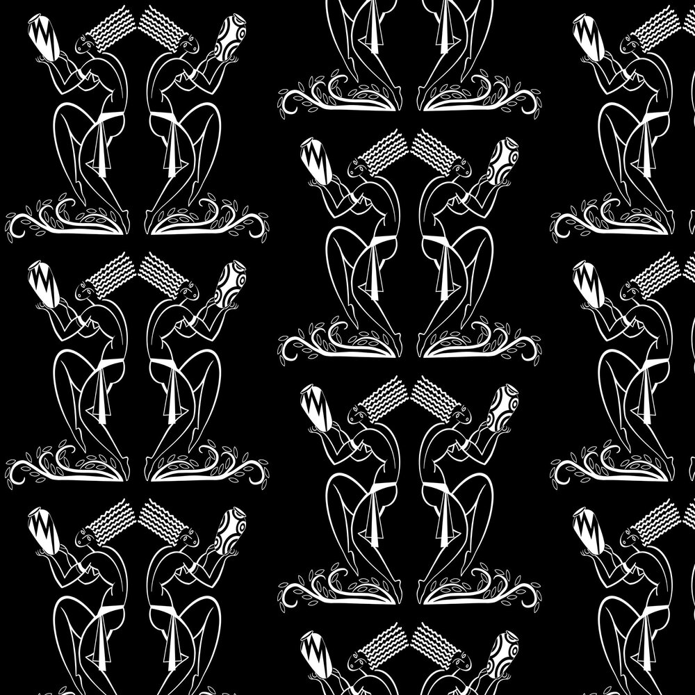 Les Danseurs Wallpaper - White / Black - by Art Decor Designs