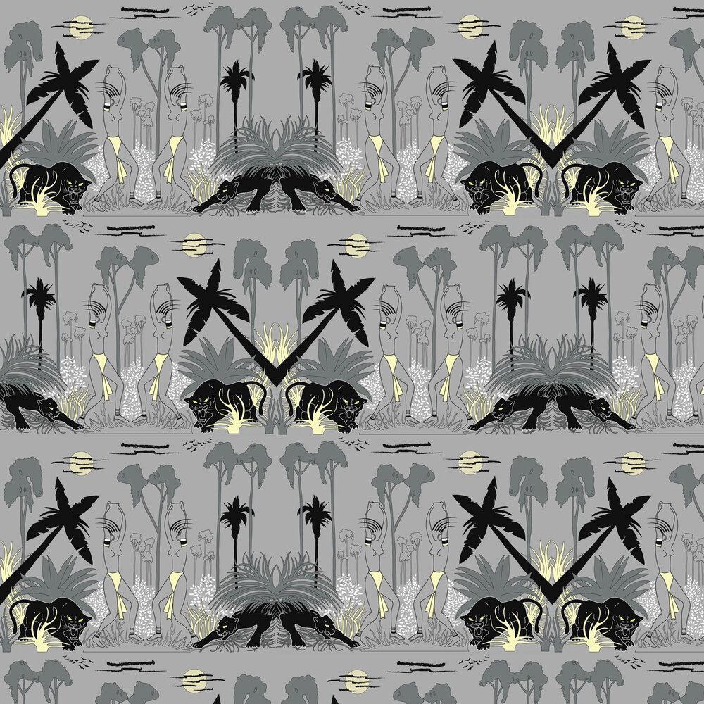 Deco Jungle Wallpaper - Grey - by Art Decor Designs