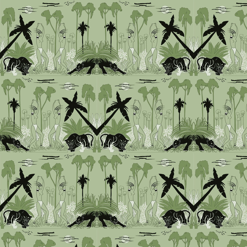 Art Decor Designs Deco Jungle Green Wallpaper - Product code: DEC J 02 GREEN