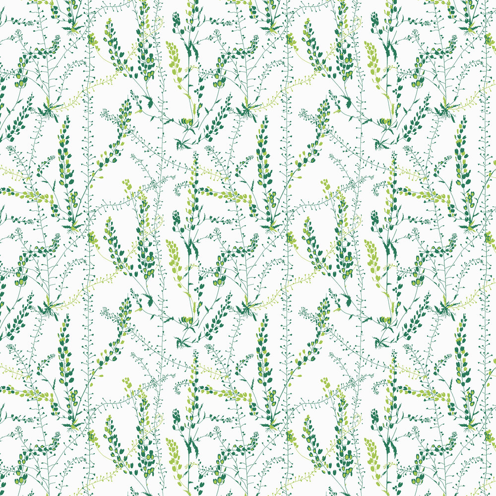 Bladranker Wallpaper - Green - by Boråstapeter