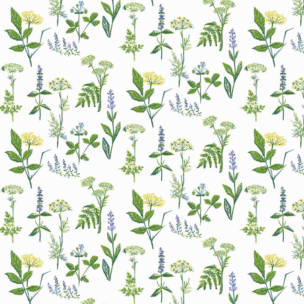Koksvaxter Wallpaper - Green / Yellow / White - by Boråstapeter