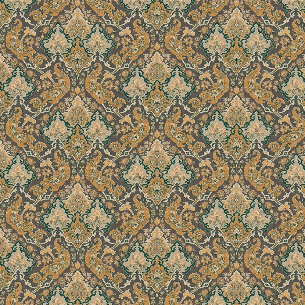 Pushkin Wallpaper - Ginger and Charcoal - by Cole & Son