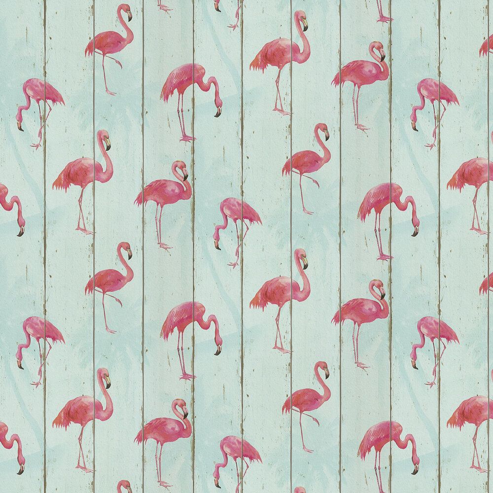 Flamingo on Wood Wallpaper - Aqua Blue - by Albany