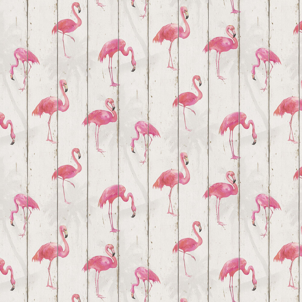 Flamingo on Wood Wallpaper - White - by Albany