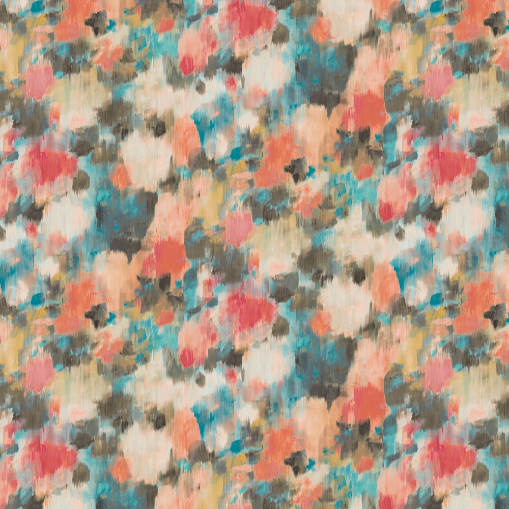 Exuberance Wallpaper - Coral / Turquoise - by Harlequin