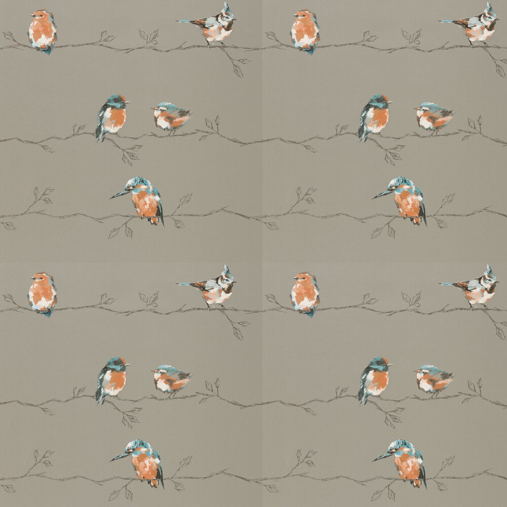 Persico Wallpaper - Tangerine / Duck Egg - by Harlequin