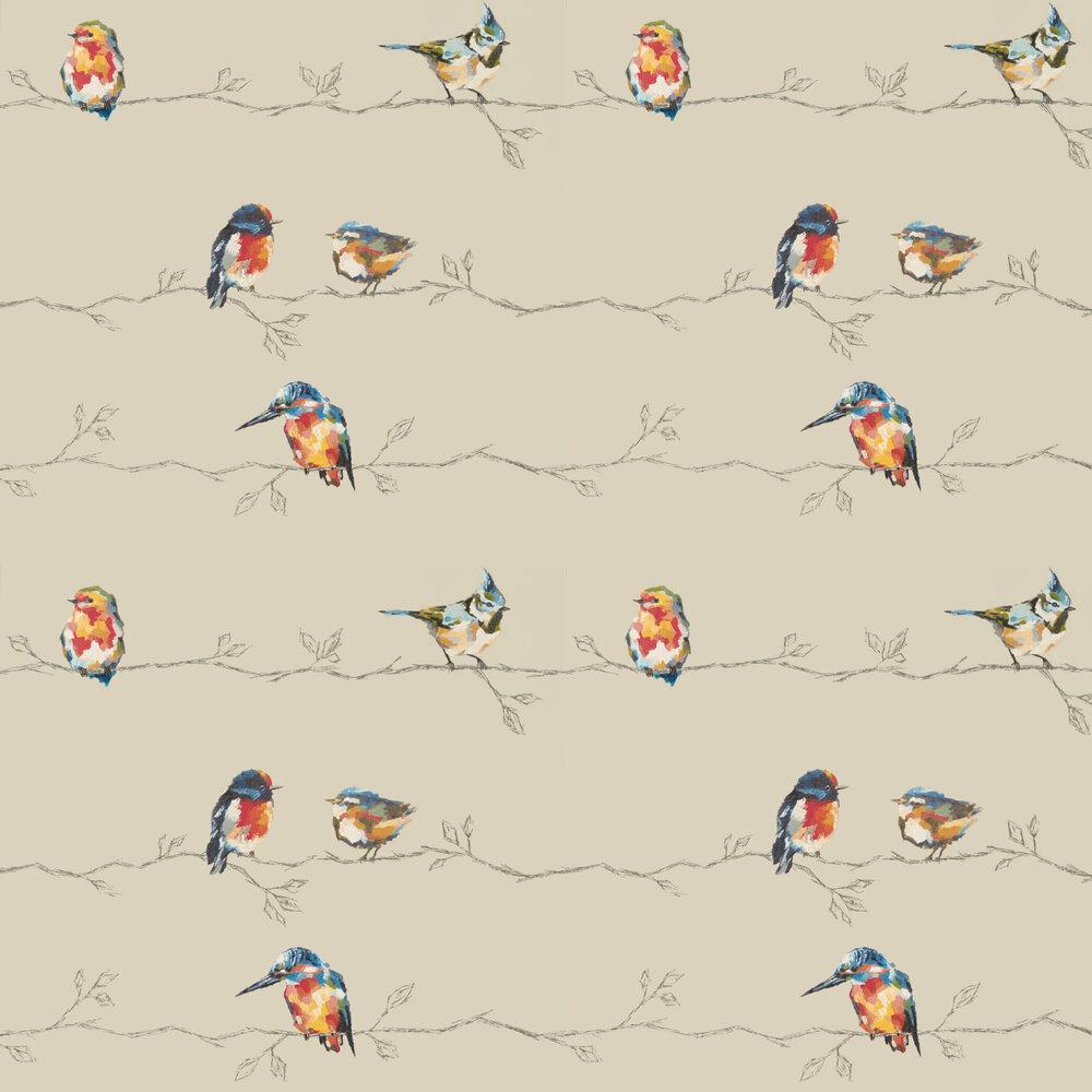 Persico Wallpaper - Coral / Lemon - by Harlequin