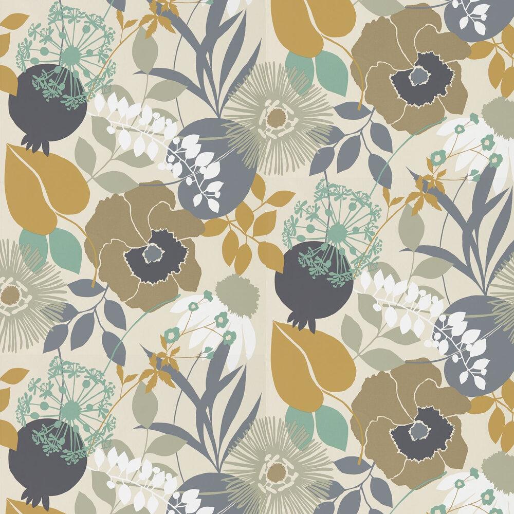 Doyenne Wallpaper - Ochre / Stone / Mint - by Harlequin