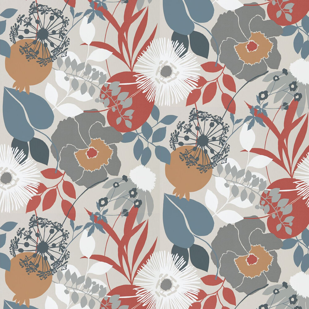 Doyenne Wallpaper - Chalk / Copper / Sepia - by Harlequin