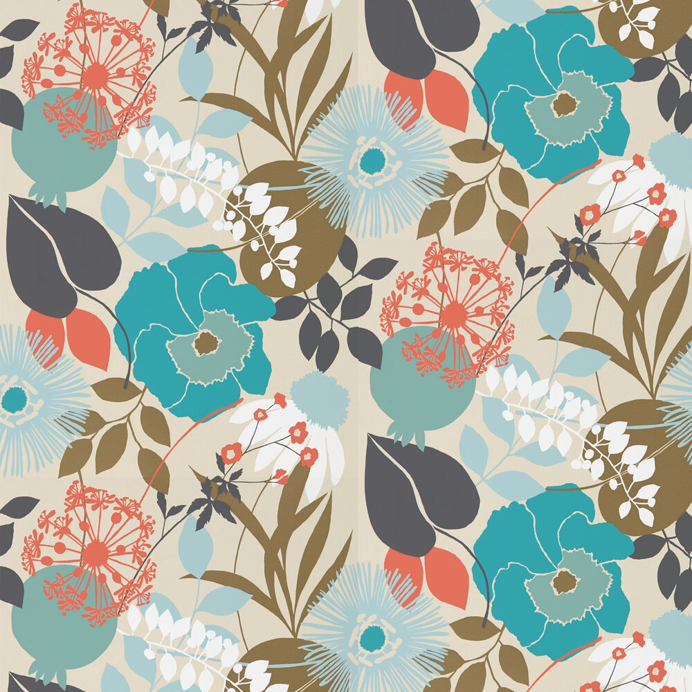 Doyenne Wallpaper - Sky / Olive / Coral - by Harlequin