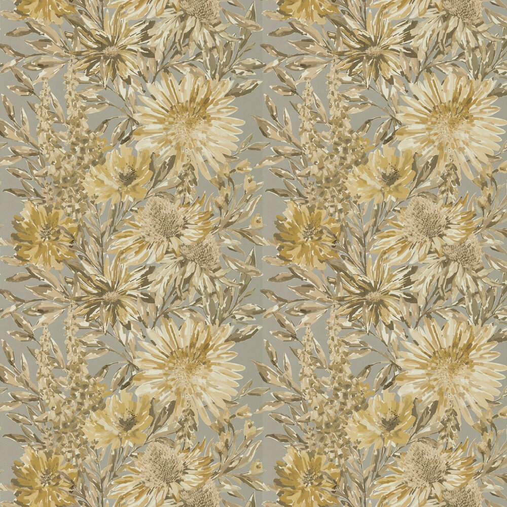 Floreale Wallpaper - Ochre / Gilver - by Harlequin