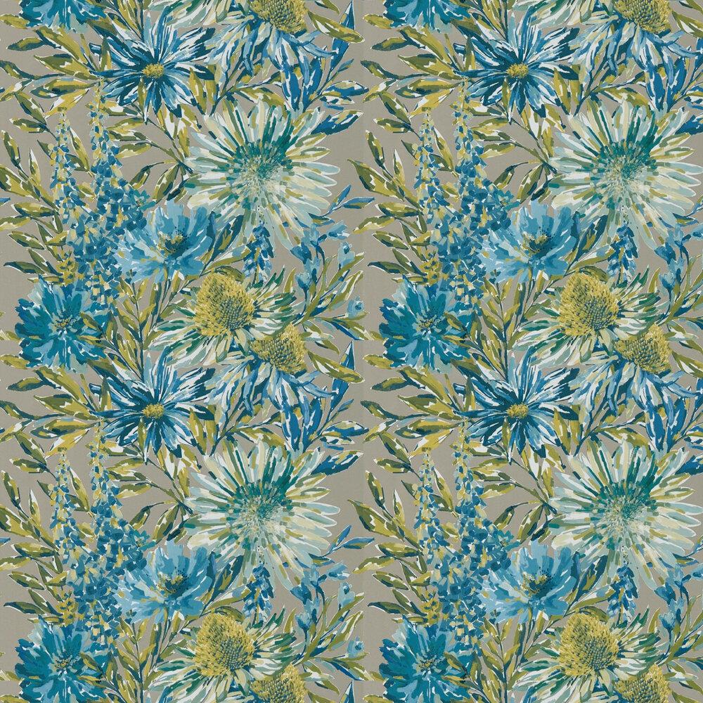 Floreale Wallpaper - Cornflower / Gilver - by Harlequin