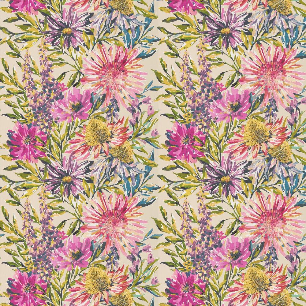 Floreale Wallpaper - Tangerine / Fuchsia - by Harlequin