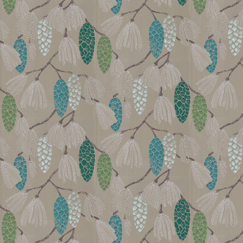 Epitome Wallpaper - Turquiose / Pea / Gilver - by Harlequin