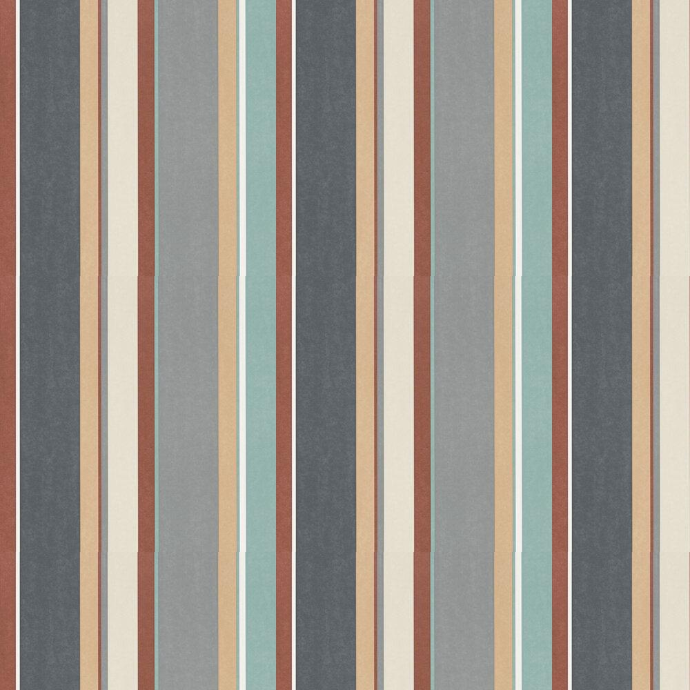 Bella Stripe Wallpaper - Sepia / Copper / Duckegg - by Harlequin
