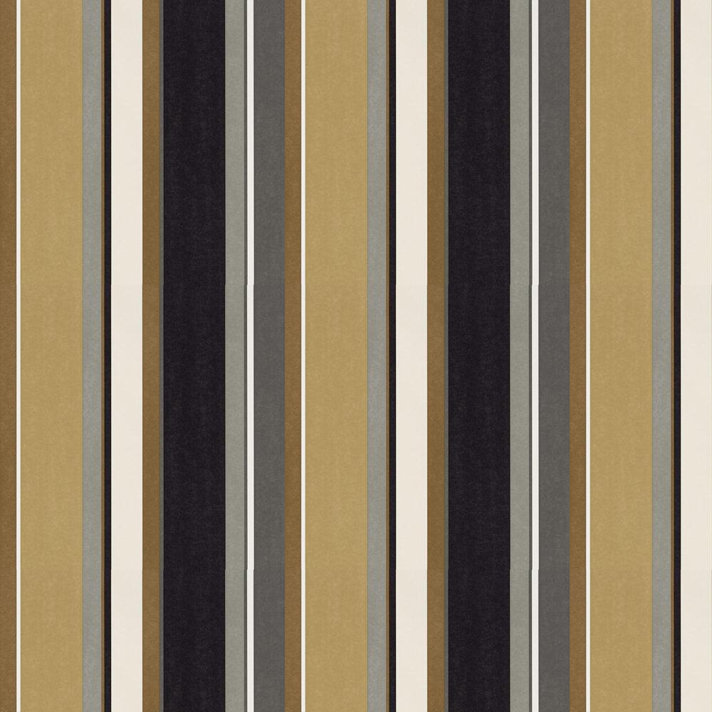Bella Stripe Wallpaper - Ochre / Gold / Ebony - by Harlequin