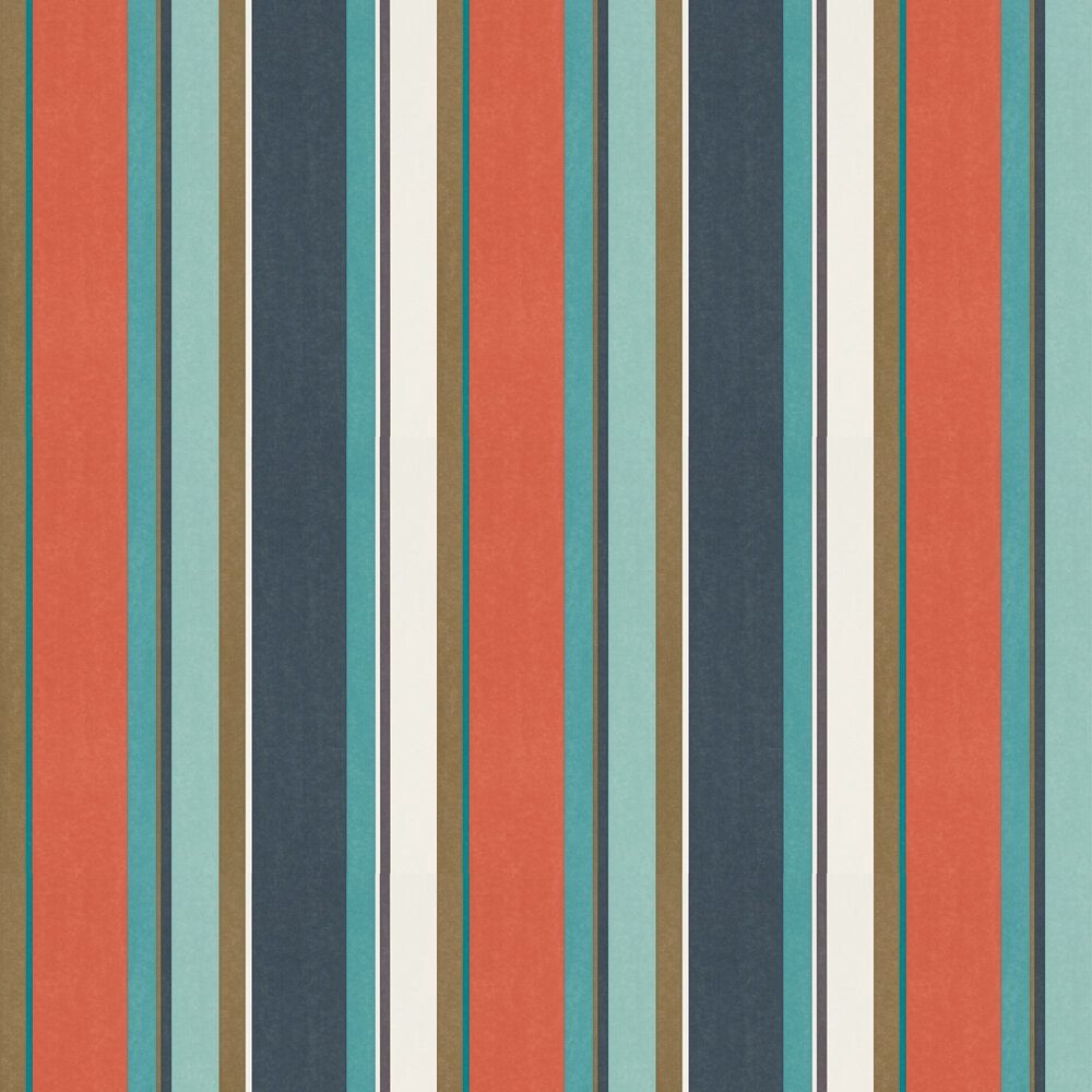Bella Stripe Wallpaper - Coral / Gold / Turquoise - by Harlequin