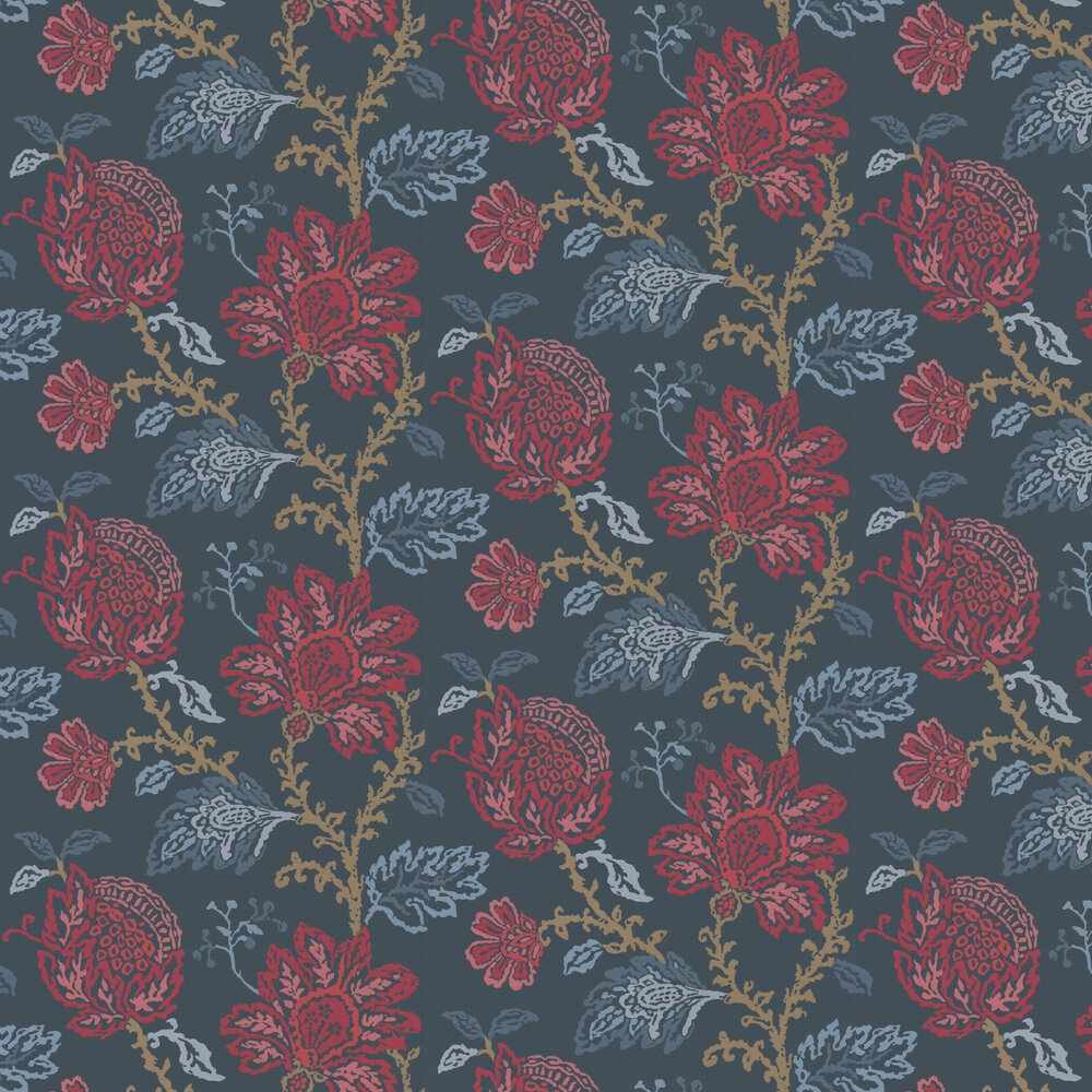 Nina Campbell Coromandel Blue / Red / Neutral Wallpaper - Product code: NCW4270/01