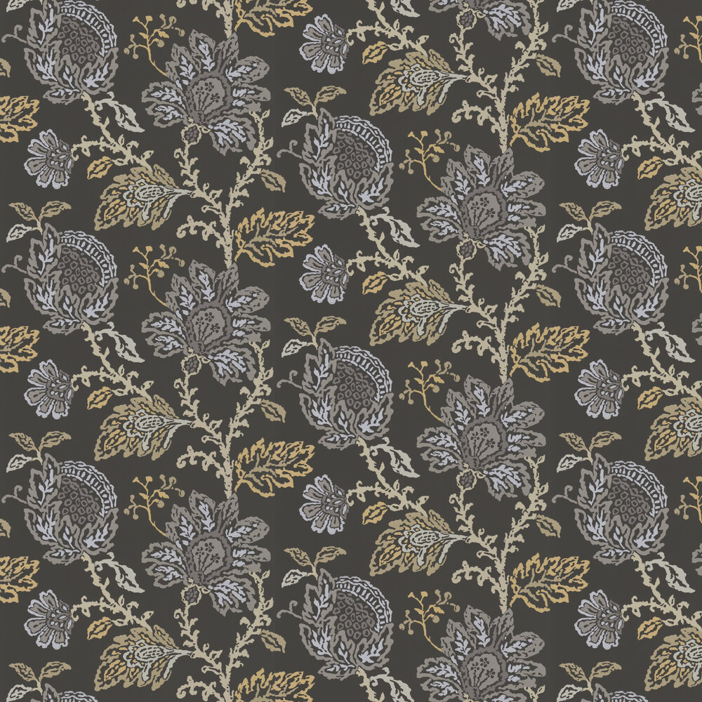 Nina Campbell Coromandel Black / Gold / Silver Wallpaper - Product code: NCW4270/06