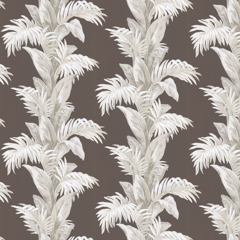 Nina Campbell Palmetto Chocolate / Stone Wallpaper - Product code: NCW4274/04