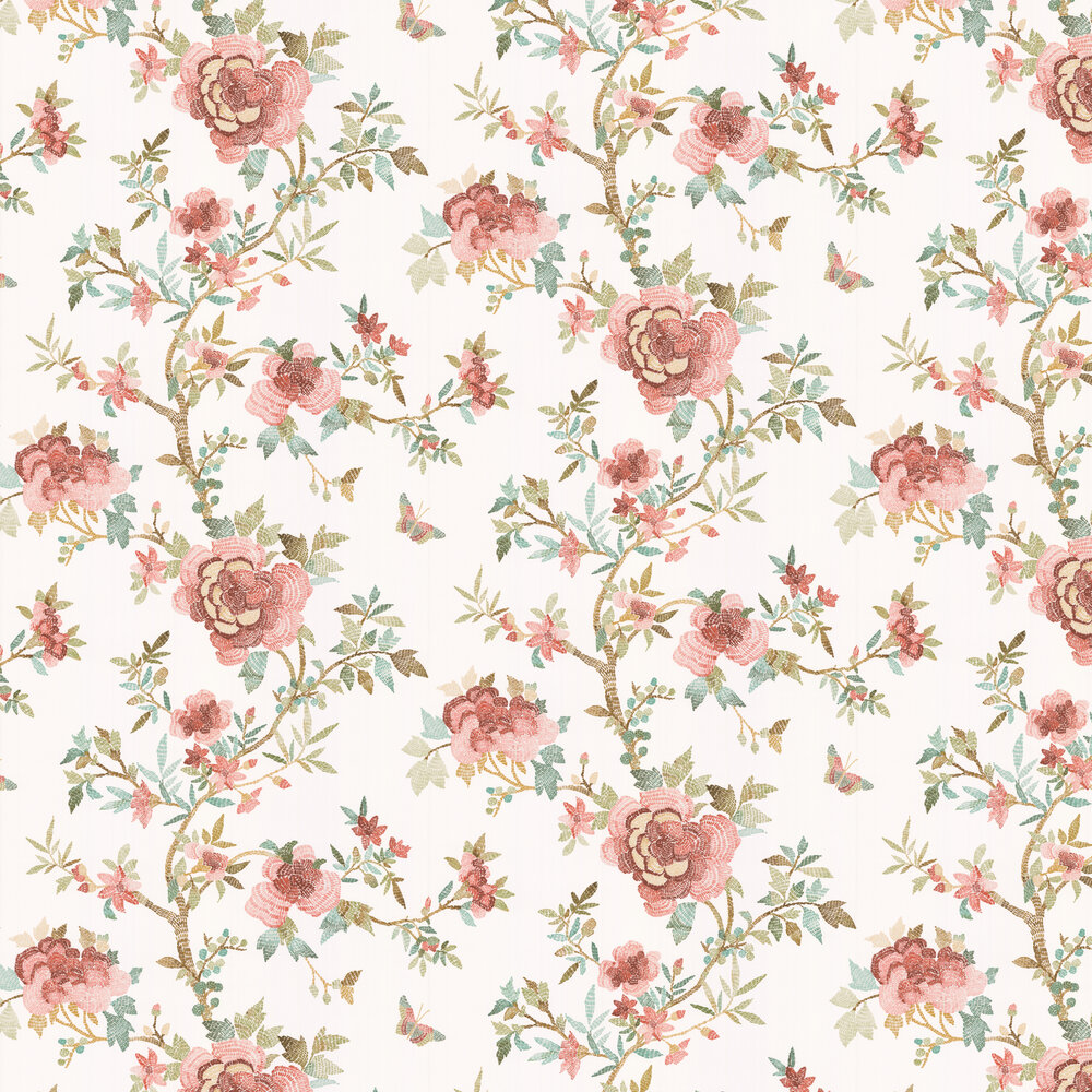 Perdana Wallpaper - Coral / Aqua / Multi - by Nina Campbell