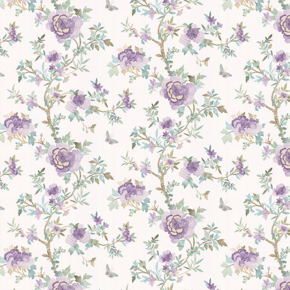 Perdana Wallpaper - Lilac / Aqua - by Nina Campbell