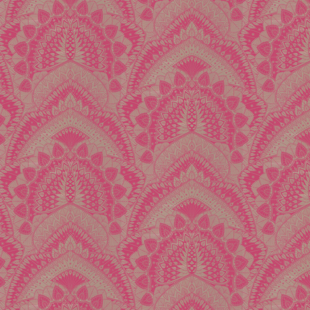 Azari Wallpaper - Pink / Gold - by Matthew Williamson