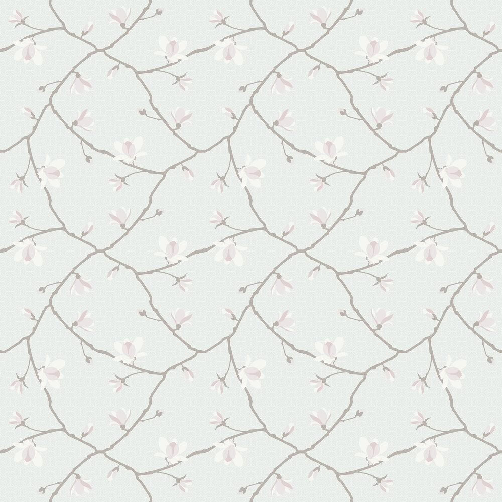 Magnolia Wallpaper - Pale Jade & Pink - by Boråstapeter